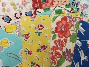 BEST 40 Vintage Novelty Feedsack Fabric Quilt  Scraps Quilting Flour Sack 1940s