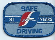 """Greyhound Bus """"31 years safe driving"""" driver patch 2-1/2 X 3-3/4 inch 00004000"""