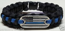 Thin Blue Line Police; USA Black & White Flag Emblem Handmade Paracord Bracelet