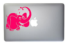 Happy Elephant Taking a Bath - 5 Inch Neon Pink Vinyl Decal for Macbook, Laptop