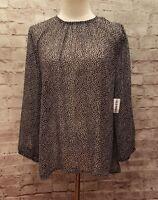 NEW Old Navy Womens M  Sheer Blouse Top Black White Stars Shimmer 3/4 sleeve