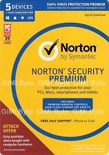 Norton Internet Security Premium 5 Devices Anti-Virus 2018 Windows Mac Android