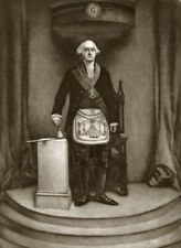 MASONIC George WASHINGTON as a Mason engraving careful Mezzotint