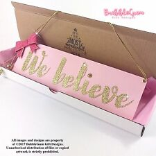 Christmas sign Pink Gold We Believe glitter bow handmade jingle bell girly Xmas