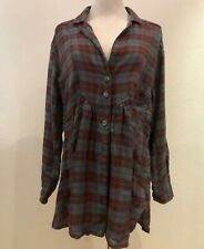 Free People All About The Feels Plaid Button Down Tunic Shirt, Size M