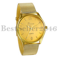 Mens Women Gold Tone Stainless Steel Band Analog Quartz Casual Wrist Watch Gift