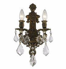 "2-Light Antique Bronze Finish D 12"" H 13"" Diana Crystal Wall Sconce Light"