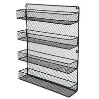 4 Tiers Kitchen Spice Jar Rack Cabinet Organizer Wall Mount Storage Shelf Holder