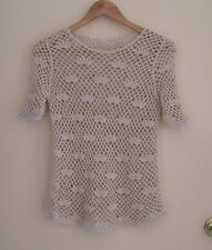 Women Lovely Beige Crochet Beach Cover Casual Tops One size (8-10 fit), Perfect!