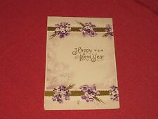 1909 Happy New Year Postcard Embossed Bouquets of Violets Posted VG