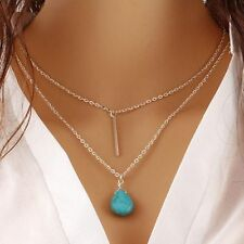 Fashion Women Silver Turquoise Pendant Necklace Charm Jewelry UK