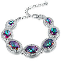 Woman European Style Vintage Silver Rainbow Mystical Fire Topaz Chain Bracelet