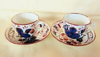 Antique Gaudy Dutch Welsh Demitasse Cups & Saucers Hand Painted Cobalt & Copper