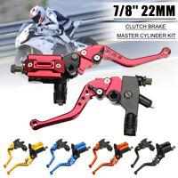 7/8'' 22mm Motorcycle Brake Clutch Master Cylinder Lever Reservoir 5 Colors AU