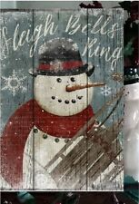 Primitive Christmas Sign Sleigh Bells Ring Snowman Wooden Vintage Sign 4 of 4