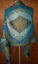 SHAWL Paisley Style Woven Teal Blue, Black and Gold Rectangular Fringed Wrap