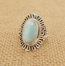 Larimar 925 Silver Ring UK Size O-US 7 1/4 Indian Jewellery