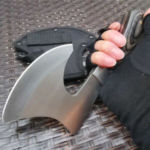 58HRC Thick Stainless Steel Axe, Non-slip Wooden Handle, Camping Battle Axe