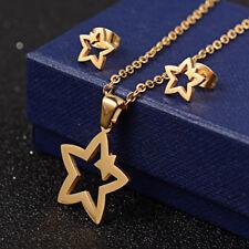 Delizioso completo collana con ciondolo stella + orecchini oro - Acciaio 316L