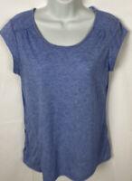 Women's REI Blue Top Size Large Zip Pocket Short Sleeve Shirt Scoop Neck EUC