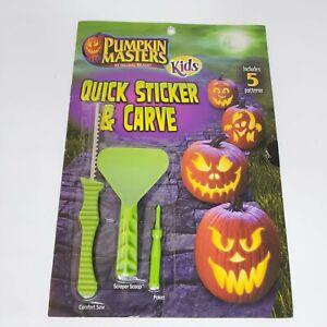 Pumpkin Master Kids Quick Sticker & Carve Kit Includes Patterns