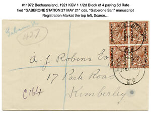 """11972: Bechuanaland, 1921 KGV Cover """"GABERONE STATION 27 MAY 21"""", Scarce…"""