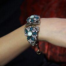Bracelet Fleur Vert Cristal Vintage Retro Style Original Soirée Mariage CT3