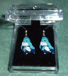 BLUE EEYORE POST EARRINGS NIB Silver Plated Post Child/Adult donkey Winnie Pooh