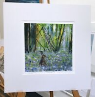 'Spring Hare' Hare in Bluebell woods print painted by Julia Pankhurst 40x40cm