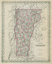 Colton's Vermont. Decorative antique US state map 1869 old chart