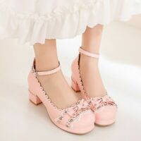 Womens Mary Jane Lolita Heels Bowknot Round Toe Mid Block Ankle Strap Sweet Shoe