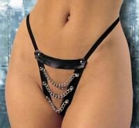 Black Sexy PU Leather Chain G-String Thong Fetish Underwear High Front Chains