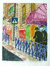 Street Scene - Jerusalem Original Woodcut Judaica, Hand Pulled Print by Artist,
