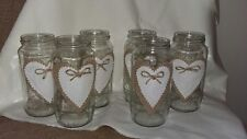 6 Rustic Wedding Table  Centrepiece upcycled  Jars  Ivory Hessian Hearts Bows