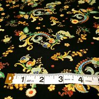 "100% COTTON GILDED FLORAL PRINT BLACK FABRIC HALF YARD 36""X22"" INDIA FLOWERS"