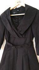 RARE! HOBBS BLACK TAFFETA TRENCH 3/4 SLEEVES DRESS size 8
