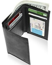 Genuine Leather Slim Trifold Wallet For Men With ID Window RFID Blocking