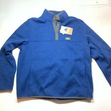 LL Bean Sweater Fleece Men's L Reg Slightly Fitted Qtr Snap Fit Ocean Blue NEW