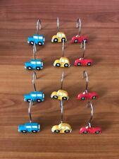 Boys Motor Vehicle Shower Curtain Hooks Blue, Red & Yellow Set of 12