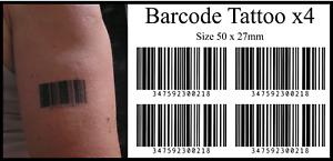 Barcode Temporary Tattoos x4