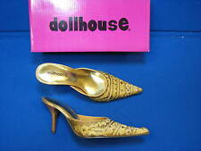 NEW 7 Dollhouse Ladies Womens Shoes Ling Gold High Heels Mules Slides Bead Beige