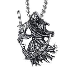 MENDINO Men's Stainless Steel Pendant Necklace Grim Reaper Death Skull Scythe