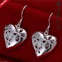 Vintage Women's 925 Sterling Silver Filled Heart  Drop Dangle Earrings #35