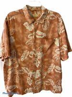 Joseph & Feiss Mens Hawaiian Shirt XXL Floral Pattern 100% Silk Button Down