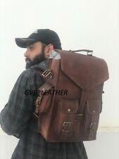"18"" New Leather Convertible Messenger + Back Pack Rucksack Travel Bag Men's"