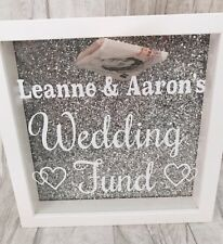 PERSONALISED WEDDING Fund MONEY BOX Frame, ENGAGEMENT Present Gift, Love, Couple