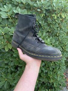 Dr Martens Distressed Combat Boots Black Size 12 Mens US Hi Top Leather