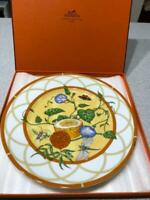 Hermes Porcelain Siesta Dessert Plate Tableware Yellow Ornament Auth New 9.0 in