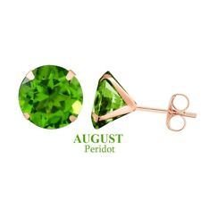 Solid 10K Rose Gold 3mm Round Peridot August Birthstone Stud Earrings