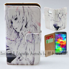 Wallet Phone Case Flip Cover ONLY for Samsung Galaxy S5 - Reading Girl Anime